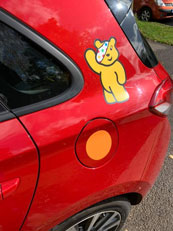 Children in need Pudsey on car. - Big Learner Relay - Lead Car Ross to Ledbury - Tony Shaw Driving