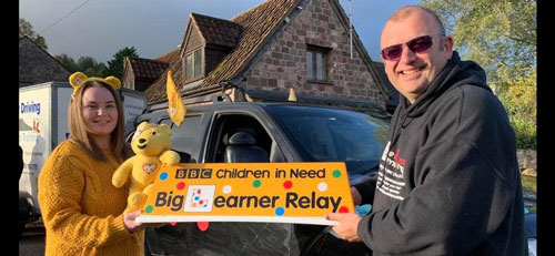 Children in need - Big Learner Relay - Lead Car Ross - Ledbury - Tony Shaw Driving