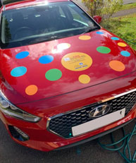Spotty Car. Children in need - Big Learner Relay - Lead Car Ross to Ledbury